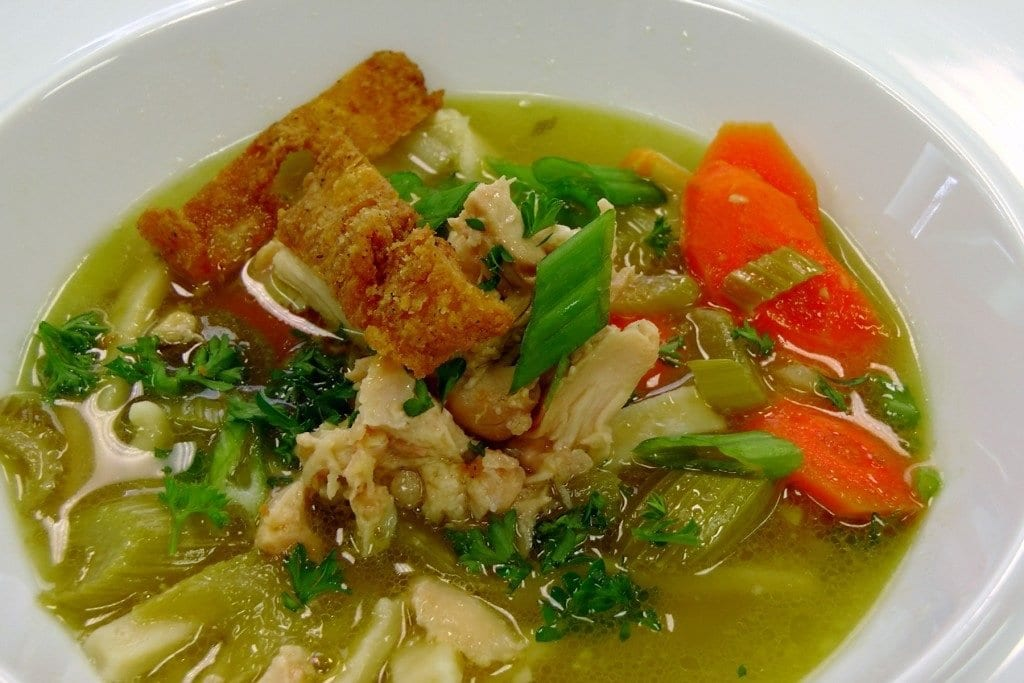chicken noodle soup stewing