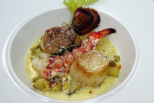 Lobster and Fresh Corn Chowder with CVap Staged Scallops