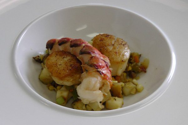lobster and scallop stack