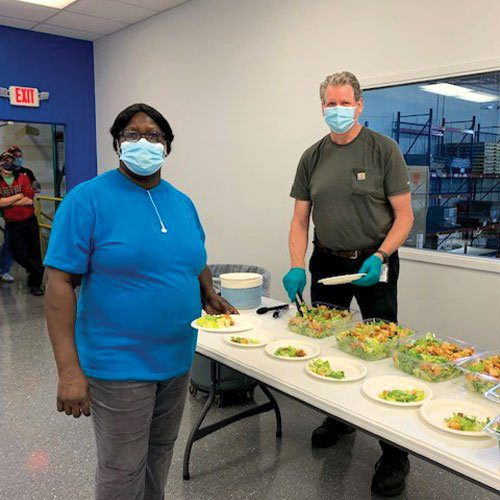 group meals are made safer with masks