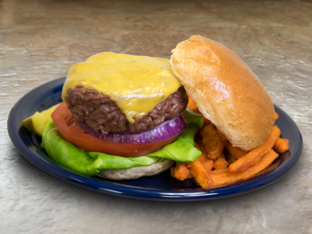 cheeseburger, staged, with sweet potato fries
