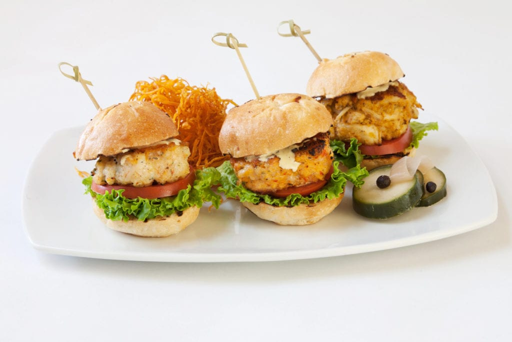 staging crab sliders trio