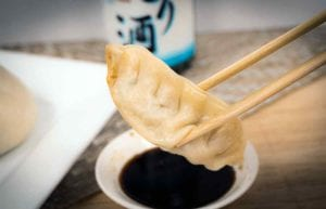 Yummy dumpling and soy sauce